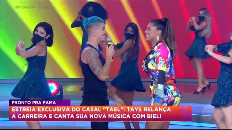 Biel e Tays Reis participam do programa Hora do Faro (foto: Reprodução/Record)