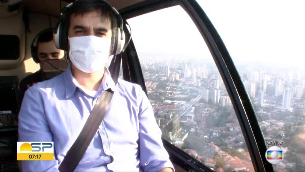 Barulho do novo Globocop atrapalha o áudio dos repórteres (foto: Reprodução/Globo)