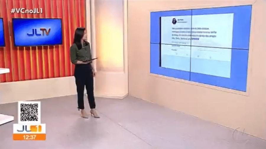 Priscilla Castro foi alvo de brincadeira de telespectador ao ler recado com trocadilho (foto: Reprodução/TV Liberal)