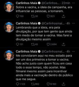 Carlinhos Maia inventou convite para vacinação da Covid-19 (foto: Reprodução/Twitter)