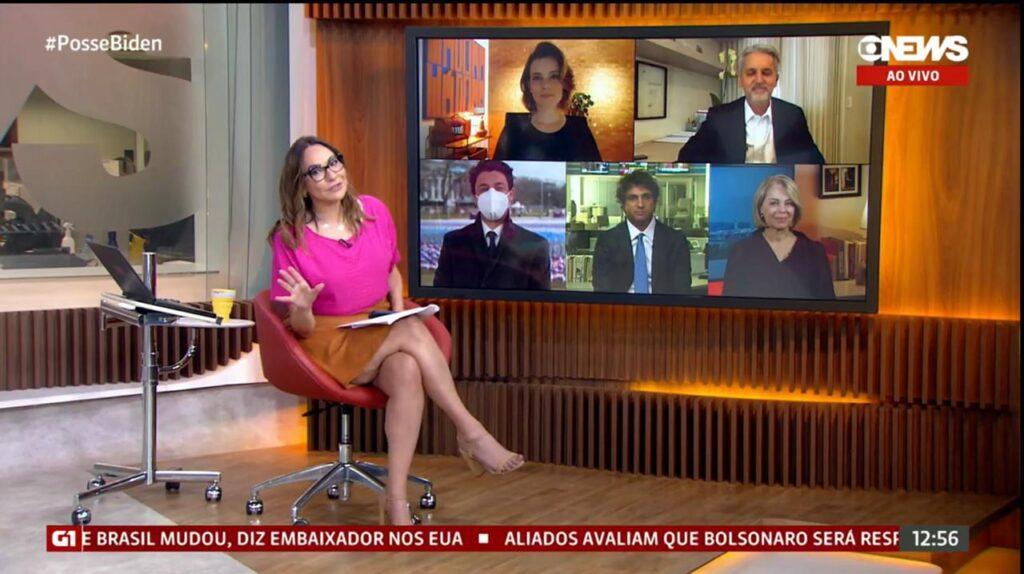 Maria Beltrão e comentaristas durante a cobertura da posse de Joe Biden na GloboNews (foto: Reprodução/GloboNews)