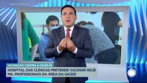 Reinaldo Gottino chorou enquanto apresentava o Balanço Geral SP (foto: Reprodução/Record)