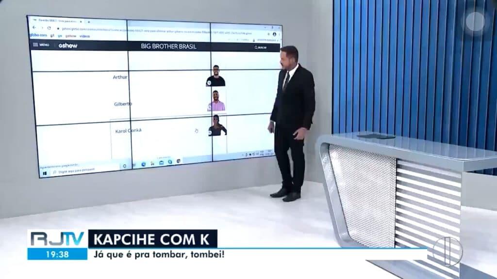 Apresentador do RJ2 ensina telespectadores a votar para eliminar Karol Conká (foto: Reprodução/Inter TV)