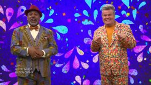 Milton Cunha e Aílton Graça apresentaram o especial de carnaval da Globo (foto: Reprodução/TV Globo)
