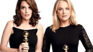 Tina Fey e Amy Poehler são as apresentadoras do Globo de Ouro (foto: Divulgação/TNT)