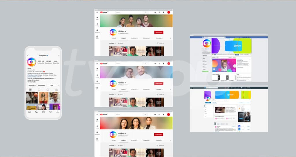 A nova identidade visual da Globo aplicada nas redes sociais da emissora (foto: Reprodução/TV Globo)