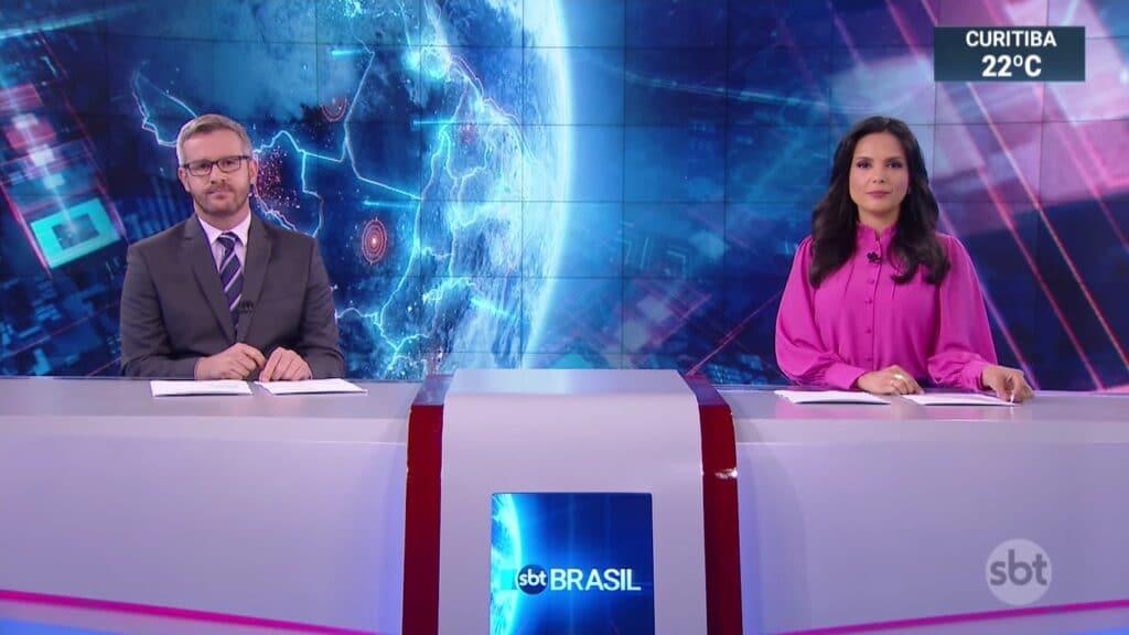 José Luiz Filho e Márcia Dantas apresentaram o SBT Brasil do dia 13; emissora vive crise aos sábados (foto: Reprodução/SBT)