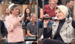 Serginho Groisman e Ana Maria Braga no Altas Horas de 03/11/2011: lembrança da data emocionou o apresentador (foto: Zé Paulo Cardeal/TV Globo)