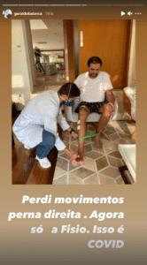 Geraldo Luís faz fisioterapia para recuperar movimentos da perna direita (foto: Reprodução/Instagram)