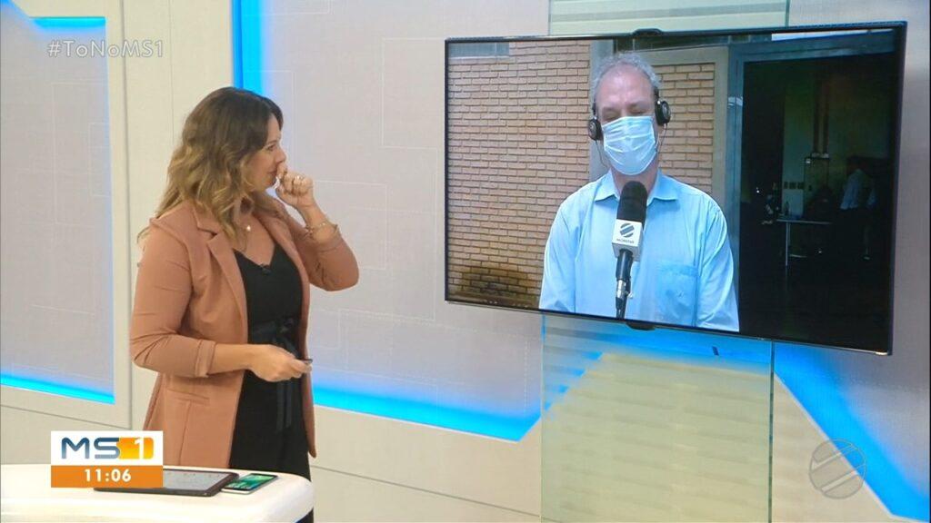 Bruna Mendes se emocionou ao falar sobre a situação nos hospitais de Campo Grande (foto: Reprodução/TV Morena)