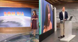 Telão de Ana Paula Araújo no Bom Dia Brasil virou point para jornalistas assistirem ao pay-per-view do BBB (foto: Montagem/TV Globo e Redes Sociais)