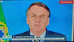 Versão regional do RJ2, da Globo, chamou Jair Bolsonaro de genocida e negacionista (foto: Reprodução/InterTV)