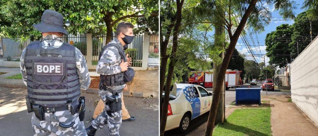 Uma suposta bomba foi deixada na frente da sede da RPC, afiliada da Globo em Maringá (foto: Reprodução)