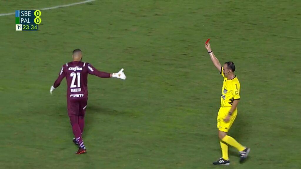 Weverton, goleiro do Palmeiras, foi expulso de jogo do Paulistão feito no Rio de Janeiro (foto: Reprodução/TV Globo)
