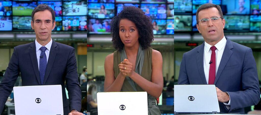 César Tralli, Maju Coutinho e Rodrigo Bocardi não disfarçam insatisfação por apresentar o Jornal Hoje aos sábados (foto: Montagem/TV Globo)