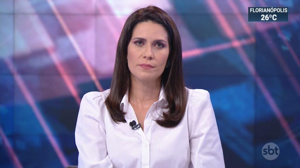 Débora Bergamasco ancorou o SBT Brasil de 13 de março: pior resultado do ano (foto: Reprodução/SBT)