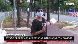 Elisabete Pacheco brigou com ciclista que invadiu reportagem três vezes seguidas (foto: Reprodução/GloboNews)