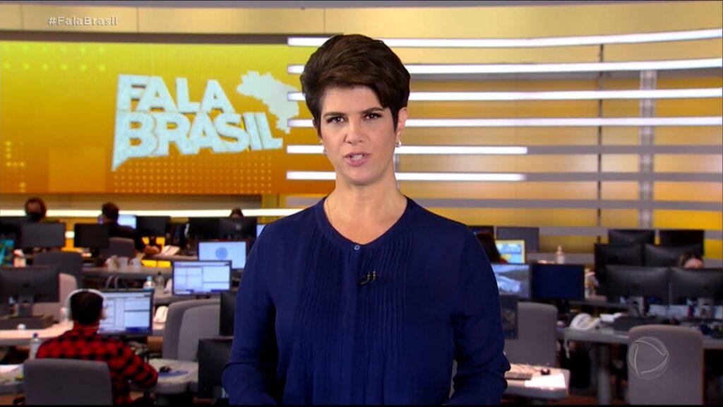 Mariana Godoy no Fala Brasil de 9 de março: mais uma vez atrás do SBT (foto: Reprodução/Record)