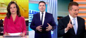 Fabiana Oliveira, Matheus Furlan e Celso Russomanno nos noticiários da Record em 6 de março: audiência em alta (foto: Montagem/Reprodução/Record)