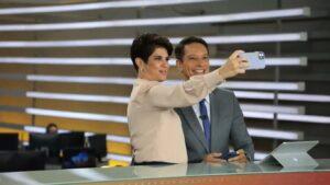 Mariana Godoy e Sérgio Aguiar despencaram no segundo dia da dupla no Fala Brasil (foto: Reprodução/Record)