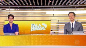 Mariana Godoy e Sérgio Aguiar na bancada do Fala Brasil: telejornal não se beneficiou com a estreia do Vem Pra Cá (foto: Reprodução/Record)