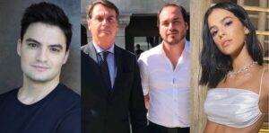 Carlos Bolsonaro decidiu fazer uma queixa-crime contra Felipe Neto e Bruna Marquezine (foto: Montagem/Redes Sociais)