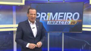 Gilberto Ribeiro no Primeiro Impacto de 23 de março: foto de sunga impactou seguidores do jornalista (foto: Reprodução/Rede Massa - SBT)