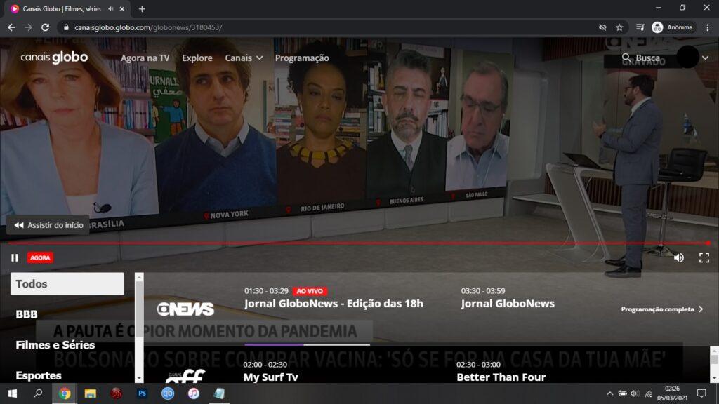 Grade voadora? Nem aplicativo da Globo sabe dizer o que está no ar na GloboNews (foto: Reprodução)