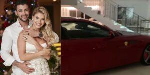 Gusttavo Lima decidiu estacionar uma Ferrari no meio da sua casa (foto: Montagem/Redes Sociais)