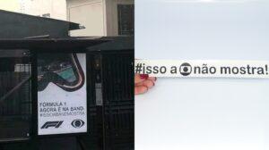 """Band ironiza """"isso a Globo não mostra"""" em campanha de estreia da Fórmula 1 (foto: Montagem/TV Pop)"""