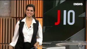 Camila Bomfim no Jornal das 10 de 4 de março: noticiário vive crise de audiência (foto: Reprodução/GloboNews)