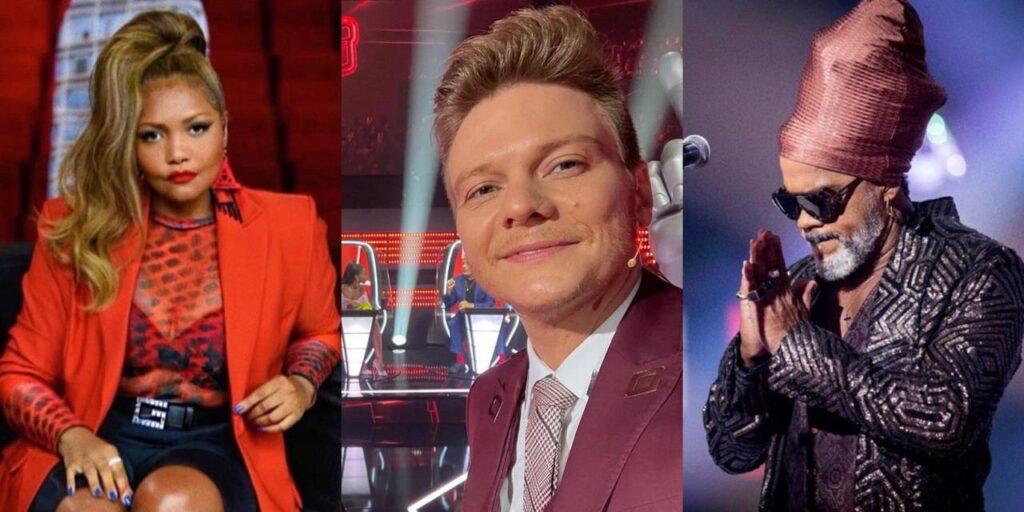 Gaby Amarantos, Michel Teló e Carlinhos Brown vão dividir o The Voice Kids com Márcio Garcia (foto: Montagem/Redes Sociais)