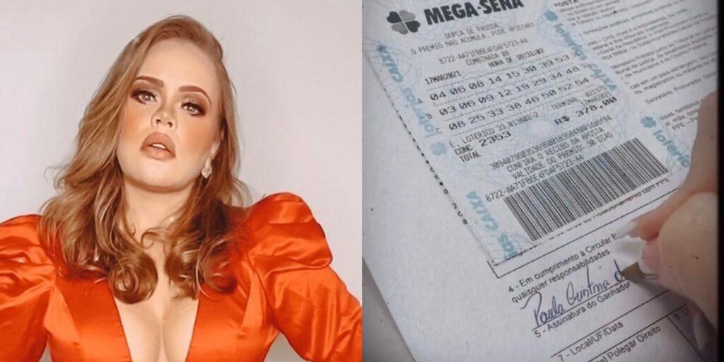 A ex-BBB Paula Leite mostrou em uma rede social o seu 47º bilhete de loteria premiado (foto: Montagem/Redes Sociais)