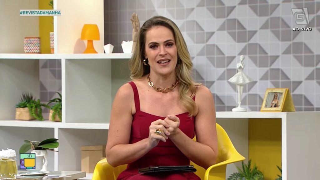 Regiane Tápias se afastou do Revista da Manhã para fazer um tratamento oncológico (foto: Reprodução/TV Gazeta)