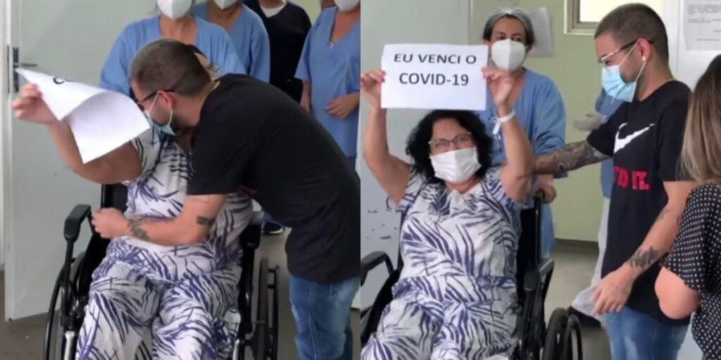 Yudi Tamashiro se emocionou ao ver sua mãe recebendo alta hospitalar (foto: Montagem/Redes Sociais)