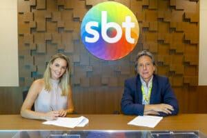 Nadine Basttos e Luciano Callegari Junior, diretor de esportes do SBT: trocou a Globo pela emissora de Silvio Santos (foto: SBT/Beatriz Nadler)