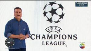 Téo José fez o anúncio da compra da Liga dos Campeões da Europa no SBT Brasil (foto: Reprodução/SBT)