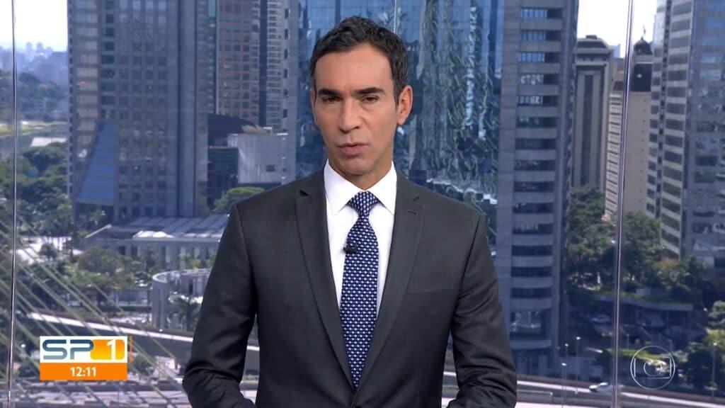 César Tralli e a Globo venceram processo que estava sendo movido por policial (foto: Reprodução/TV Globo)