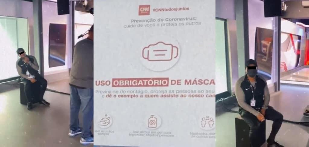Funcionários da CNN Brasil ignoram solenemente aviso espalhado pela sede do canal de notícias (foto: Reprodução/Redes Sociais)