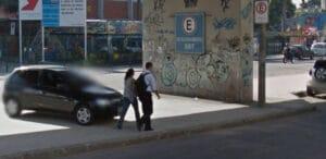 SBT do Rio de Janeiro usou viaduto como estacionamento particular (foto: Reprodução)