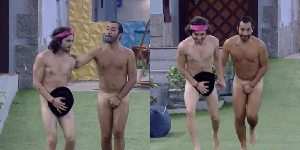Gil do Vigor e Fiuk desfilaram nus para cumprir promessa (foto: Reprodução/TV Globo)