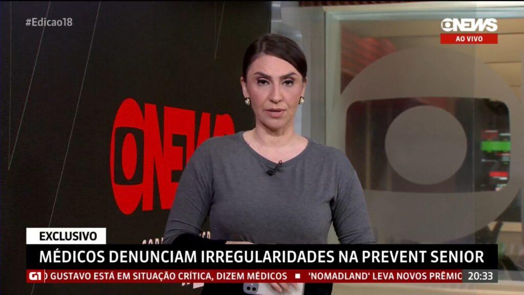Cecília Flesch introduziu reportagem da Globo que recebeu ataques da Prevent Senior (foto: Reprodução/GloboNews)