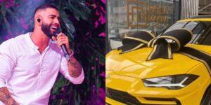 Gusttavo Lima surpreendeu com novo carro de luxo em sua garagem (foto: Montagem/Redes Sociais)