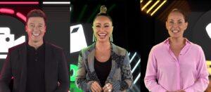 Rodrigo Faro, Sabrina Sato e Carolina Ferraz anunciaram as novas velhas novidades da Record (foto: Montagem/Record)