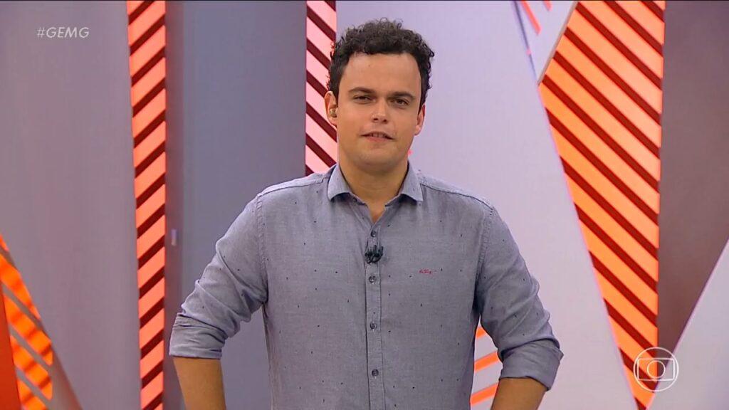 Pedro Rocha, filho do apresentador Fernando Rocha, estreou como apresentador eventual do Globo Esporte (foto: Reprodução/Globo Minas)