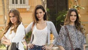As protagonistas Alexia (Deborah Secco), Kyra (Vitória Strada) e Luna (Juliana Paiva) de Salve-se Quem Puder (foto: Globo/João Miguel Júnior)