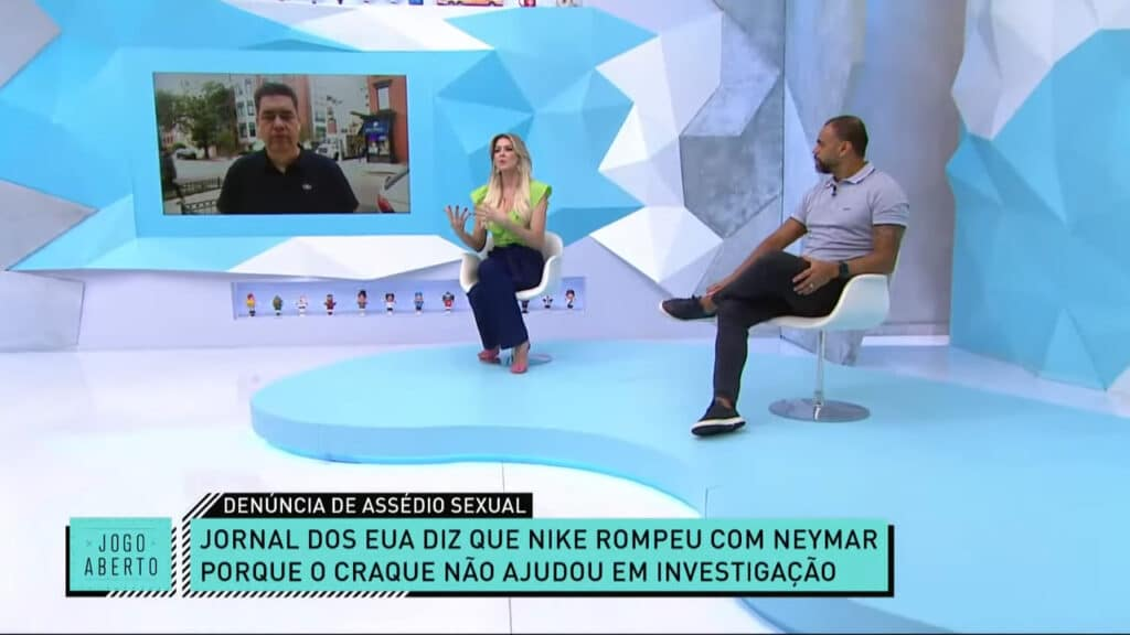 No Jogo Aberto, Denílson e Renata Fan comenta sobre acusações contra Neymar (foto: Reprodução/Band)