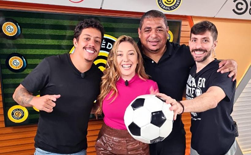 Renato Albani, Paula Vilhena, Vampeta e Rudy Landucci vão apresentar o esportivo do Comedy Central e da Jovem Pan (foto: Divulgação)