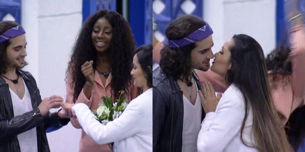 """Juliette e Fiuk """"se casaram"""" em cerimônia improvisada no BBB 21 (foto: Reprodução/TV Globo)"""