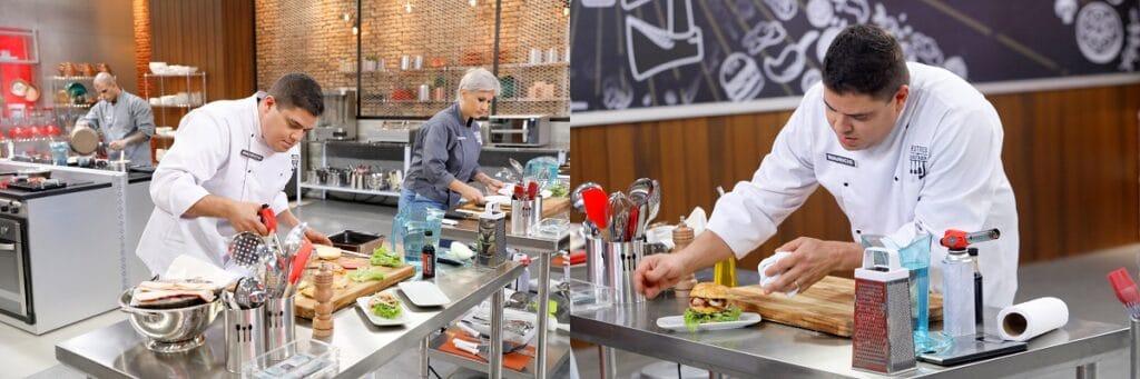 Imagens divulgadas pela assessoria do SBT mostram Maurício usando o maçarico e o utensílio na bancada do cozinheiro (fotos: Lourival Ribeiro/SBT)